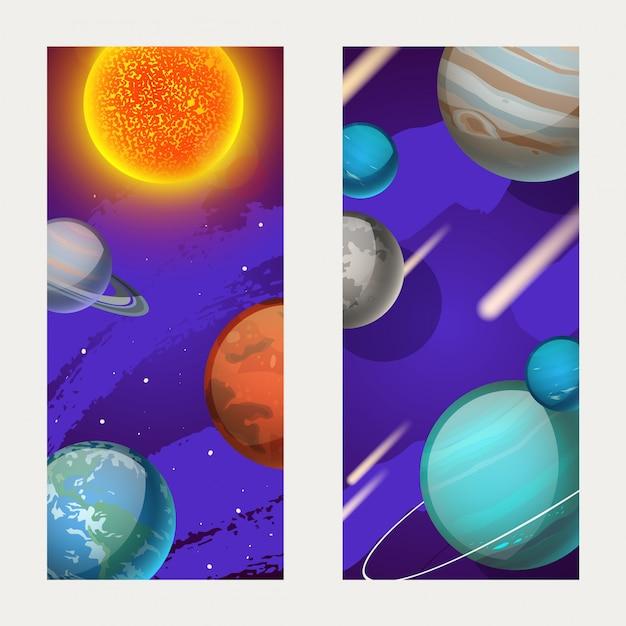 Planetensystem, planetenbewegung um die sonnenillustration. merkur, venus, erde und mars in der weltraumgalaxie, postkarte Premium Vektoren