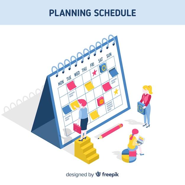 Planungszeitplankonzept mit isometrischer perspektive Kostenlosen Vektoren