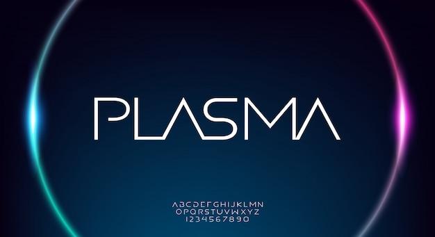 Plasma, eine abstrakte technologie wissenschaft alphabet alphabet schrift. digitale raumtypografie, breite und dünne moderne schrift Premium Vektoren
