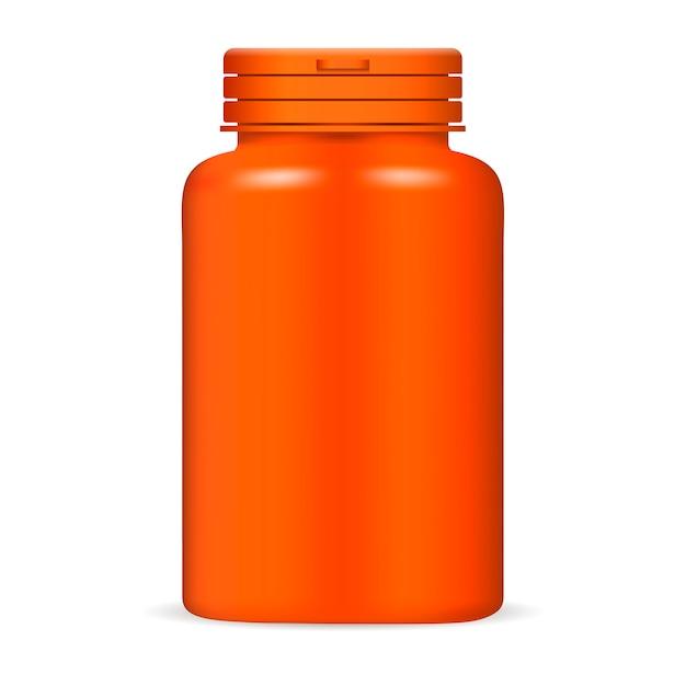 Plastikdrogentablettenflasche in der orange farbe Premium Vektoren