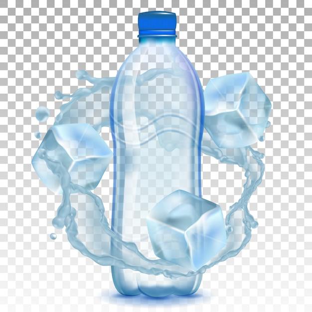 Plastikflasche mit wasser und eiswürfeln. Premium Vektoren