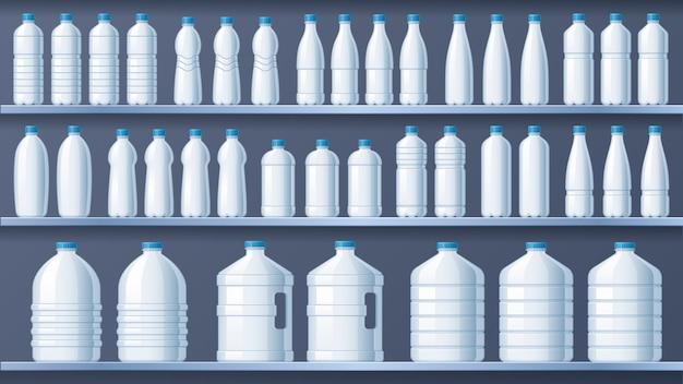 Plastikflaschen in regalen. abgefülltes regal des destillierten wassers, flüssige getränke und vektorillustration des reinen mineralwasserspeichers Premium Vektoren