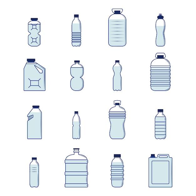 Plastikflaschensatz Premium Vektoren