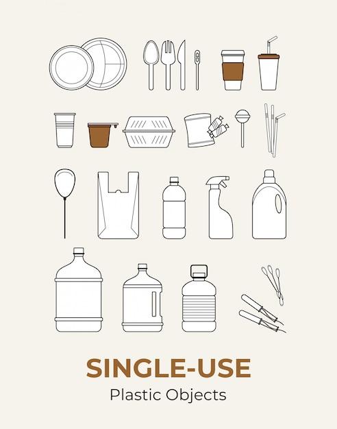 Plastikgegenstände zum einmalgebrauch. satz von recycling-kunststoffen. flache ikonen der lebensmittel- und haushaltsplastikverpackung für ökologisches Premium Vektoren