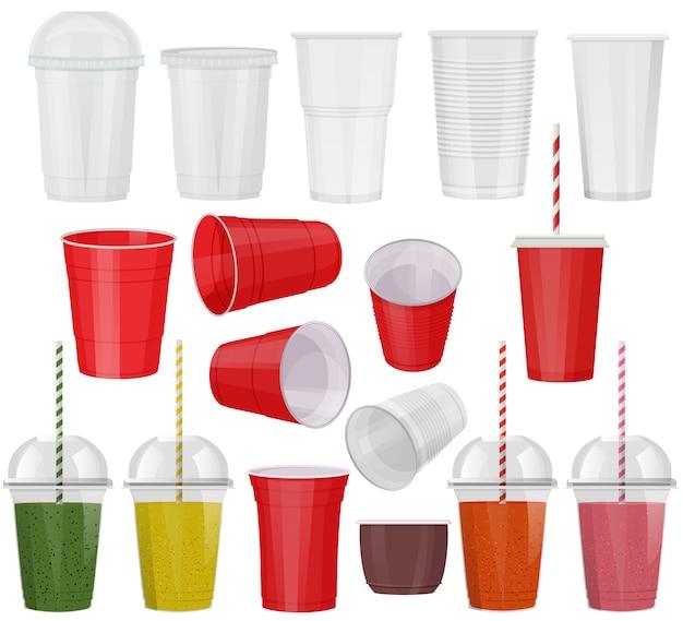 Plastikglas gesetzt Premium Vektoren