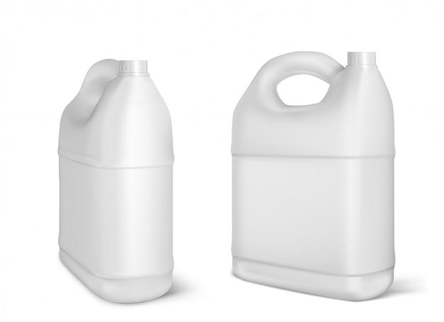 Plastikkanister, weiße kanisterflaschen isoliert Kostenlosen Vektoren