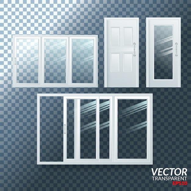 Plastiktür geöffnet und geschlossen Premium Vektoren