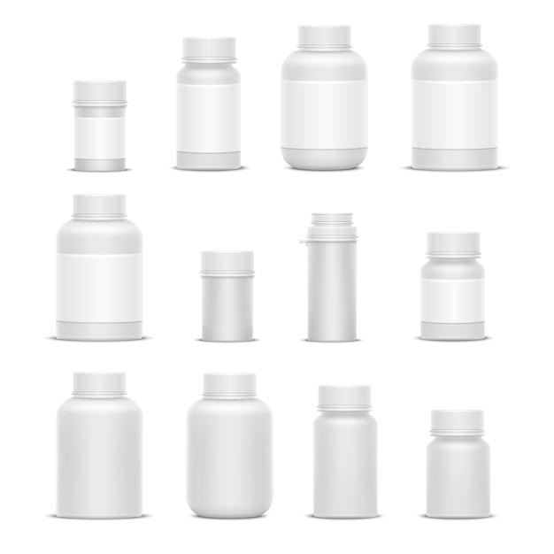Plastikverpackungs-medizinflaschen des realistischen vektors für kosmetikvitaminpillen oder -kapseln. attrappe, lehrmodell, simulation Premium Vektoren