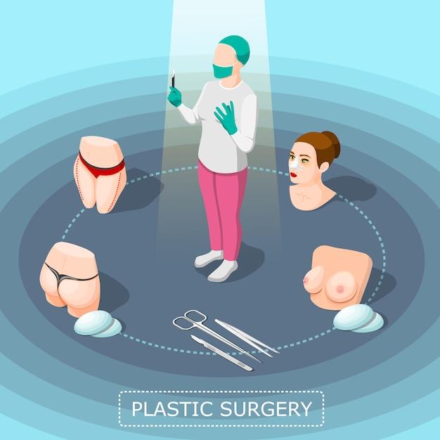 Plastische chirurgie-isometrisches konzept des entwurfes Kostenlosen Vektoren