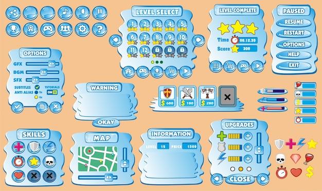 Plattform spiel benutzeroberfläche für mobile anwendung Premium Vektoren