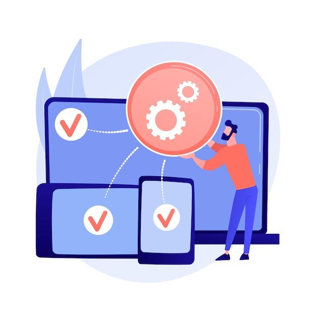 Plattformübergreifende entwicklung abstrakte konzeptillustration Kostenlosen Vektoren