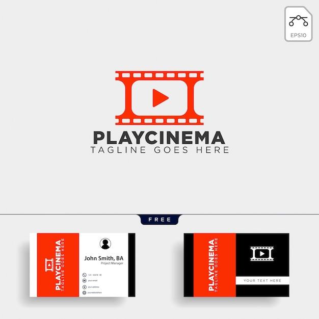 Play media cinema einfache logo-vorlage Premium Vektoren