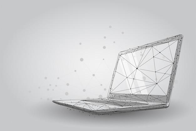 Plexus linien und punkte low poly wireframe laptop Premium Vektoren