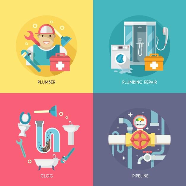 Plumbing icons zusammensetzung flach Kostenlosen Vektoren