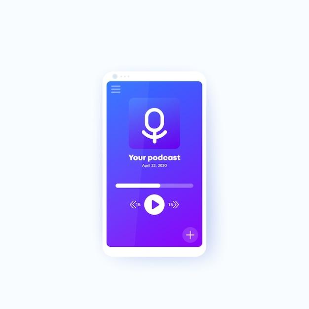 Podcast-app im handy-ui-design des telefons Premium Vektoren