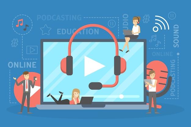 Podcast-konzept. idee eines podcasting-studios und leute im kopfhörer, die mit mikrofon und aufnahme chatten. radio oder digitale medien. illustration Premium Vektoren