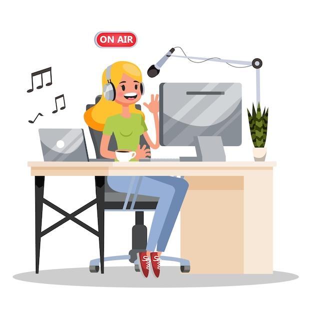 Podcast-konzept. idee von podcasting-studio und menschen Premium Vektoren