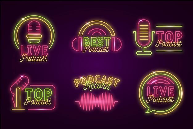 Podcast-logo-set für neonlichter Kostenlosen Vektoren