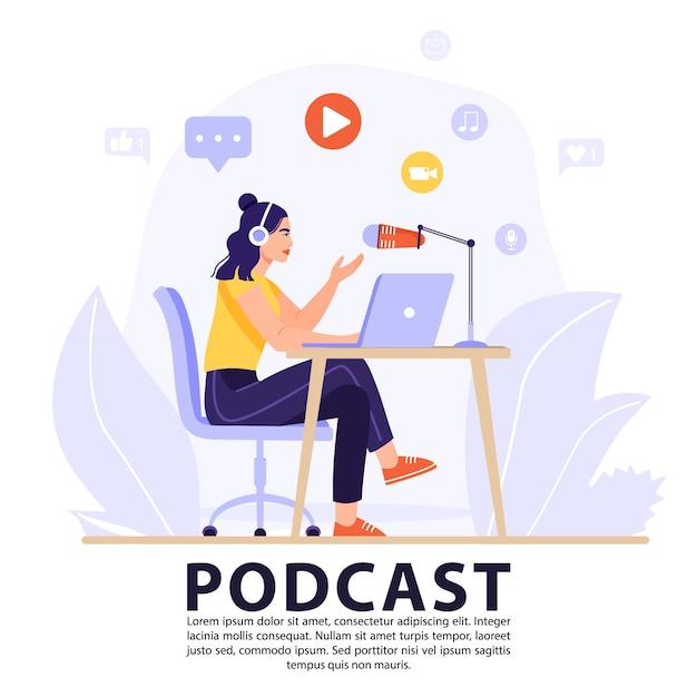 Podcast- oder interviewkonzept. Premium Vektoren