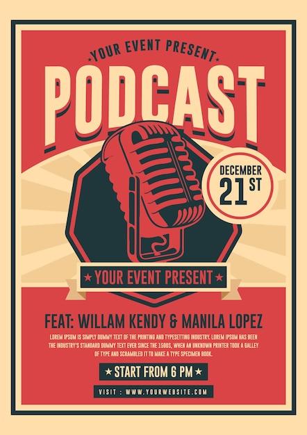 Podcast poster vorlage Kostenlosen Vektoren