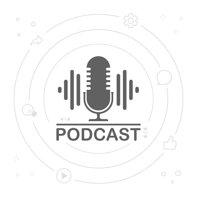 Podcast radio symbol illustration. studiotischmikrofon mit broadcast-text-podcast. logo des webcast-audioaufzeichnungskonzepts. Premium Vektoren