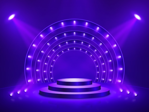 Podium mit beleuchtung. bühne, podium, szene für die preisverleihung. vektorillustration. Premium Vektoren
