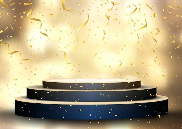 Podium mit streamer und konfetti Premium Vektoren
