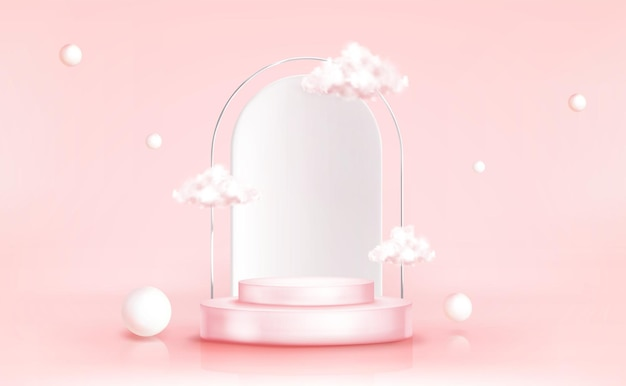 Podium mit wolken mit geometrischen kugeln, leere zylindrische bühne für preisverleihung oder produktpräsentationsplattform Kostenlosen Vektoren