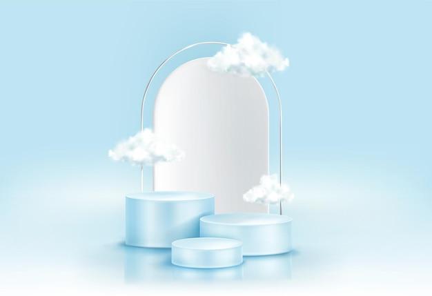 Podium mit wolken Kostenlosen Vektoren