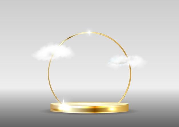 Podium mit wolken. Premium Vektoren