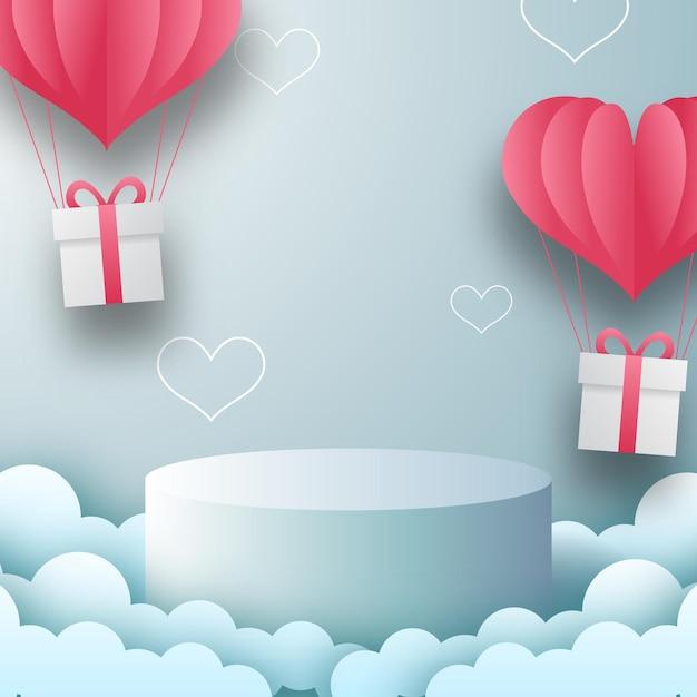 Podium produktanzeige valentinstag grußkarte banner mit herzform ballon. papierschnittart-vektorillustration mit blauem hintergrund. Premium Vektoren