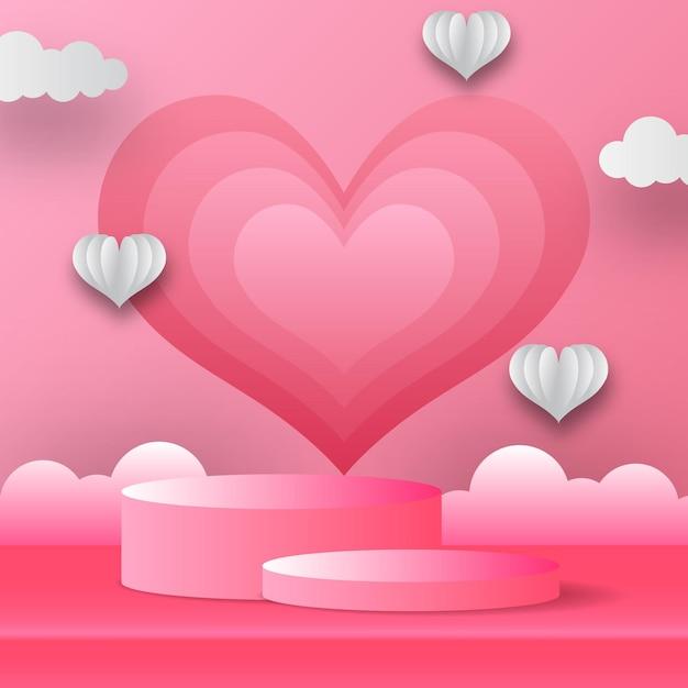 Podium produktanzeige valentinstag grußkarte banner mit herzform und wolke. papierschnittartvektorillustration mit rosa hintergrund. Premium Vektoren