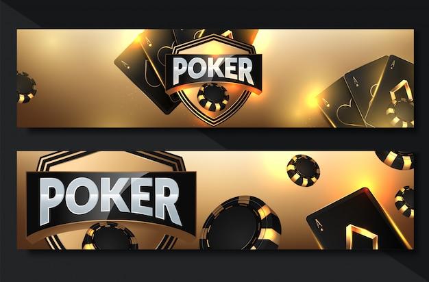 Poker casino banner set mit karten und chips Premium Vektoren