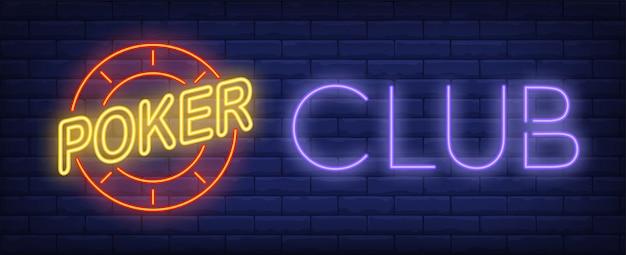 Poker club leuchtreklame Kostenlosen Vektoren