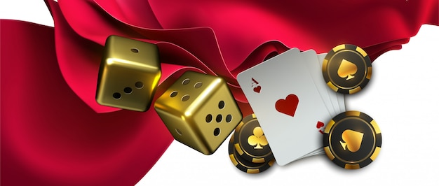 Poker hintergrund in rotem stoff mit assen und pokerchips. Premium Vektoren