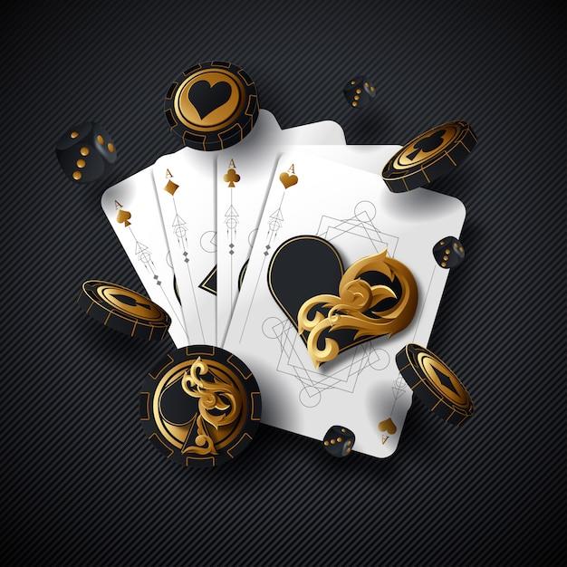 Poker karten casino hintergrund. ace würfel vegas chip fliegender stapel. glücksspiel casino karte fallendes design. Premium Vektoren