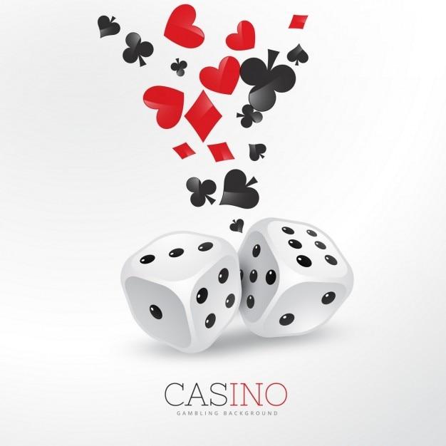 Poker-kartenelemente mit zwei würfeln Kostenlosen Vektoren