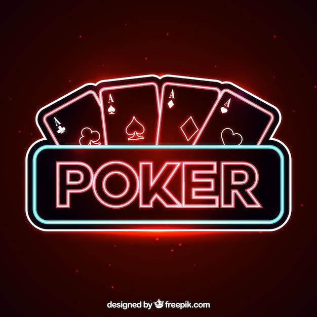 Poker neon lichter hintergrund Kostenlosen Vektoren