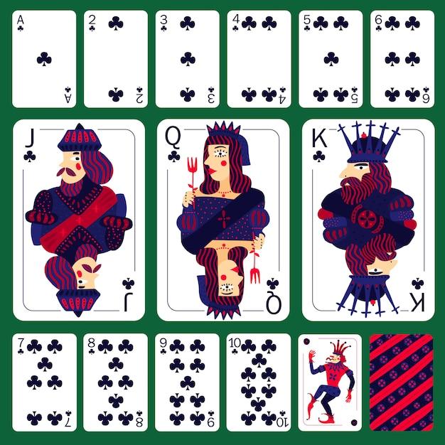 Poker spielkarten club suit set Kostenlosen Vektoren