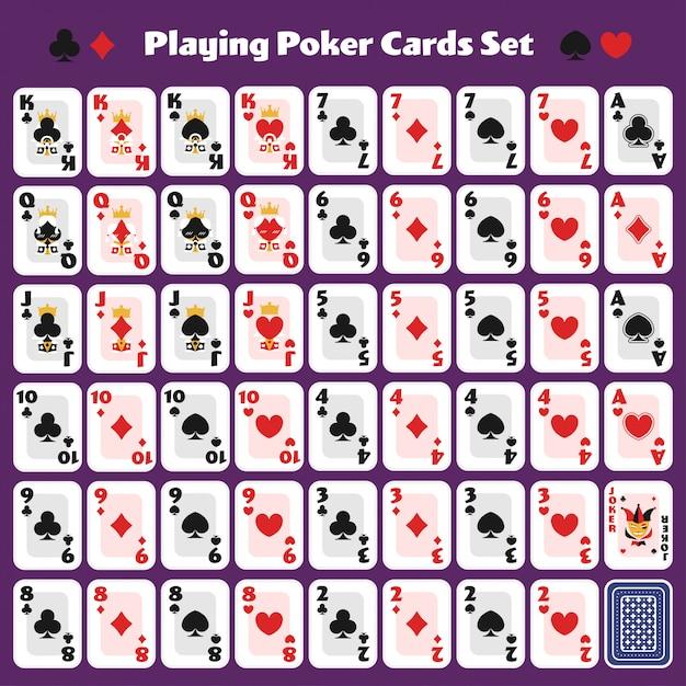 Pokerkarten spielen full set süßes, minimales design für ein casino-spiel. Premium Vektoren