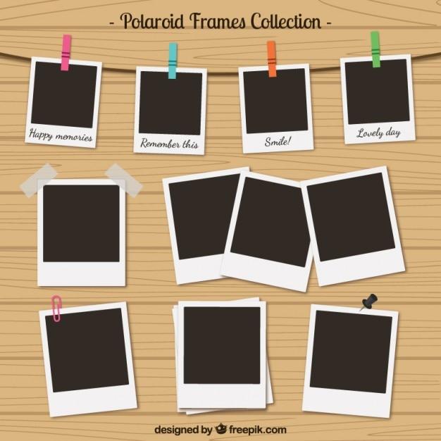 Polaroid Frames-Auflistung im Retro-Stil Premium Vektoren