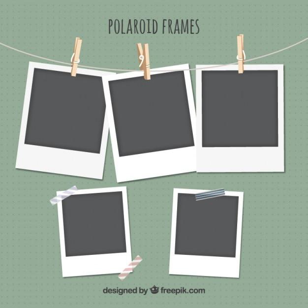 Polaroid frames set Premium Vektoren