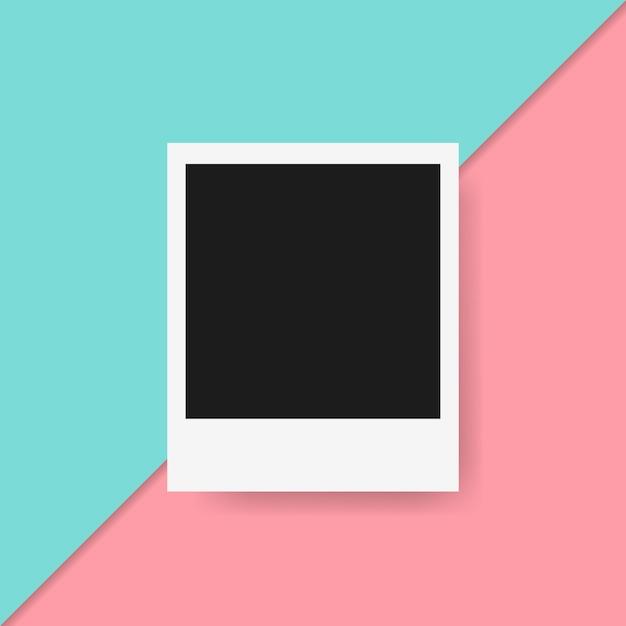 Polaroid-rahmen im bunten hintergrund Kostenlosen Vektoren