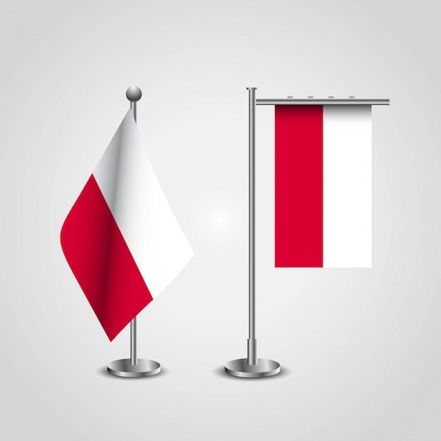 Polen-markierungsfahne auf pole Premium Vektoren