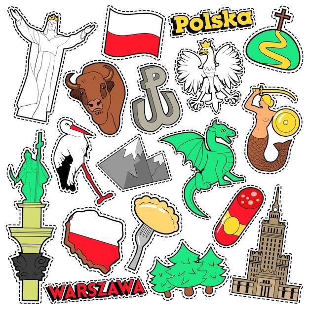 Polen reise sammelalbum aufkleber, aufnäher, abzeichen für drucke mit syrenka, adler und polnischen elementen. comic style doodle Premium Vektoren