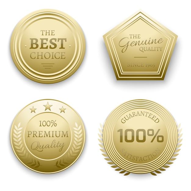 Polierte goldmetallabzeichen vector illustration Premium Vektoren