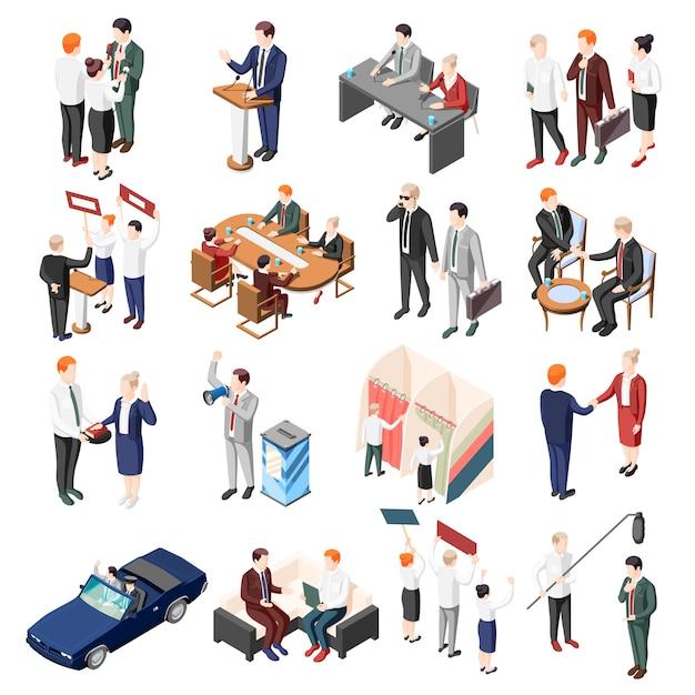 Politiker während debattenkonferenz und wahlkampf wähler und unterstützer satz von isometrischen symbolen isoliert Kostenlosen Vektoren