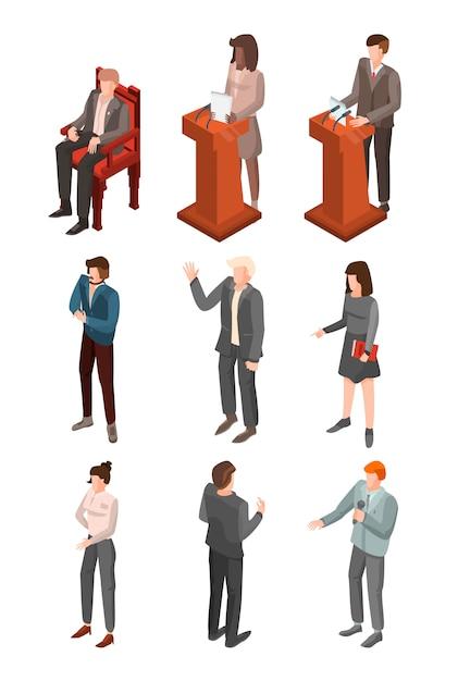 Politische konferenz-icon-set. isometrischer satz politische konferenzvektorikonen für das webdesign lokalisiert auf weißem hintergrund Premium Vektoren