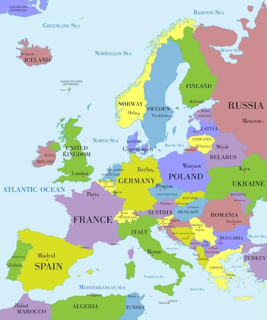 Politische landkarte von europa. Premium Vektoren