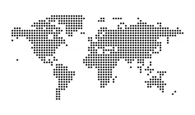 Politische punktierte weltkarte lokalisierte illustration Premium Vektoren